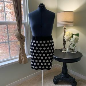 LOFT Black & White Polka Dot Sweater Skirt Size XL